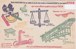 Buvard  ALSA - Les Bons Desserts Vous Offre Le Chèque Tintin (1 Point) J - Jeux & Jouets - Mécano à Bâtonnet - Buvards, Protège-cahiers Illustrés