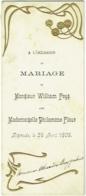 Menu Art Nouveau. Mariage. Feys/Flour. Dixmude 1905. Huitres D'Ostende, Consommé Royal..... - Menus
