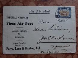 EX COLONIE INGLESI - SUD AFRICA Anni '30 - 1° Volo Postale Dal Sudafrica Alla Svizzera Con Annullo Retro + Spese Postali - Posta Aerea