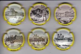SERIE COMPLETA DE 6 PLACAS DE CAVA MERVILLA DE PARIS AÑOS 1900 (CAPSULE) - Placas De Cava
