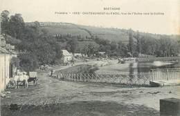 CPA 29 Finistère Châteauneuf-du-Faou Vue De L'Aulne Vers La Colline - Attelage - Cheval - Châteauneuf-du-Faou
