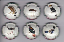SERIE COMPLETA DE 6 PLACAS DE CAVA DE PAJAROS (CAPSULE) BIRD - PAJARO - Placas De Cava