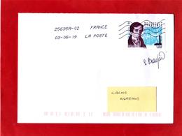F 2019 / 1.05 €  Augustin Fresnel Sur Lettre Circulée, Oblitéré 1er Jour 03.05.2019 / Signé Sophie Beaujard / Signature - France