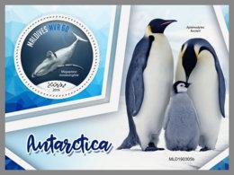 MALDIVES 2019 MNH Antarctica Antarktis Penguins Pinguine Whale Wal Baleines S/S - IMPERFORATED - DH1928 - Faune Antarctique
