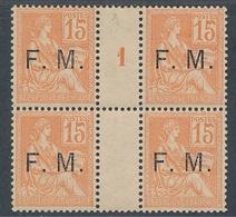 CZ-99: FRANCE :lot Avec FM N°1 Mill 2 Bloc De 4 * Sur Pont Mais Gomme 2ème Choix (glaçage) - Franchise Militaire (timbres)