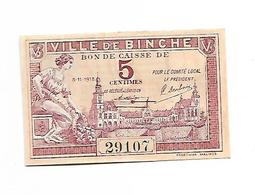 BELGIQUE / BILLET DE NECESSITE / 5 CENTIMES-1918 - BINCHE / NEUF - [ 3] Duitse Bezetting Van België