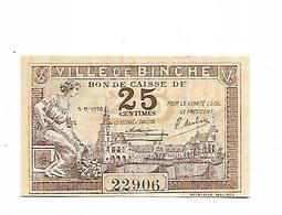 BELGIQUE / BELGIUM - BILLET DE NECESSITE / 25 CENTIMES-1918 - BINCHE / NEUF - [ 3] Duitse Bezetting Van België