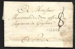 Pas De Calais-Lettre Avec Marque CALAIS-Pour Paris - 1701-1800: Precursori XVIII