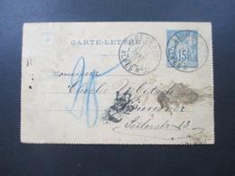 Frankreich 1887 Kartenbrief Nizza Grand Hotel Milliet Nice Nach Hannover Mit London Stempel / Nachporto Stempel - Ganzsachen