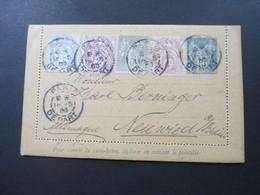 Frankreich 1905 Kartenbrief Mit Antwortkarte Mit 4 Zusatzfrankaturen! Drei Farbenfrankatur! Nach Neuwied! RR - Ganzsachen