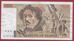 "100 Francs ""Delacroix"" 1984--VF/SUP--ALPH-E.86 - 1962-1997 ''Francs''"