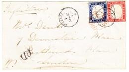 1862 Mischfrankatur Gezähnt/ungezähnt Auf Brief Von Firenze über Genua Und Turin Nach London, Roter Ankunftstempel - Sardaigne