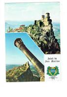 Cpa - Saint Marin , San Marino - Saluti Panorama - Blason - Timbre Walt Disney Géo Dingo Pluto Pièce De Monnaie - San Marino