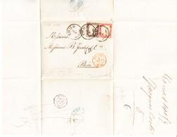 1859 10 Und 40 Cents; Sassone:14Ab Und 16B Auf Faltbrief Aus Como Nach Paris (Kat. Euro 3000.-) - Sardinien