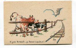 CPA  Illustrateur :   XAV  Vaches Le Train En Retard  A  VOIR  !!!!!! - Autres Illustrateurs