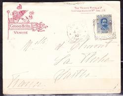 ITALY 1910 COVER GRAND HOTEL VENISE VENEZIA TO FRANCE 25 CENTS BLUE FERROVIA POSTMARK COMPLETE LETTER - Oblitérés