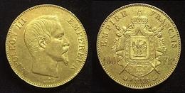 COPIE - 1 Pièce Plaquée OR Sous Capsule ! ( GOLD Plated Coin ) - France - 100 Francs Napoléon III Tête Nue 1858 BB - France