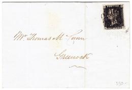 1841 1 Penny Black, Vollrandig, Auf Faltbrief, Minim Fleckig,  Von Glasgow Nach Greenock Schottland - Briefe U. Dokumente