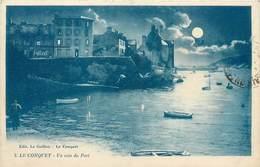 CPA 29 Finistère Le Conquet Un Coin Du Port La Nuit Pleine Lune Barques - Le Conquet