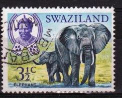 Swaziland Queen Elizabeth 1969 Single 3½c Definitive Animals Stamp. - Swaziland (1968-...)