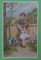 Carte Fillette Femme Maman Arrosoir Jardin Fleurs Edition Fox - Groupes D'enfants & Familles