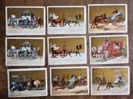 9 Cartons Publicitaires AU BON MARCHE-MAISON BOUCICAUT : Les Moyens De Transports Anciens (carrosse-chariot-guingue...) - Transporte