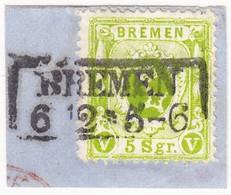 1866 5 Sgr. Gezähnt Auf Kleinem Briefstück Mit Stempel : Bremen - Bremen