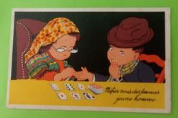 Carte Illustrateur BERNET Mefiez Vous Des Femmes Jeune Homme Voyante Cartomancienne - Illustrateurs & Photographes