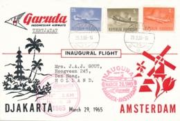 Indonesia / Nederland - 1965 - Garuda First Flight Djakarta - Amsterdam Met Vliegtuig Zegels - Luftpost