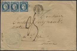 """""""PIQUAGE De SOISSONS"""" : 1868 15c TAXE Avec PIQUAGE Obl. T.15 SOISSONS Sur Lettre. RARE. Signé SCHELLER. Superbe. - Marcofilie (Brieven)"""