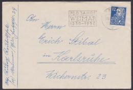 WEIMAR 700 Jahre 1250 - 1950 Jubiläum, Offene Sendung Germany Stadt Von Goethe Und Schiller, 12 Pfg. Friedrich Engels - Brieven