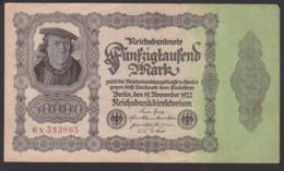 Deutsches Reich, Reichsbanknote 50.000 Mark, Ausgabe 19. November 1922, Serie N, Rosenberg 79 - [ 3] 1918-1933 : República De Weimar