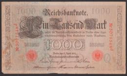 Deutsches Reich, Reichsbanknote 1 Tausend Mark, Ausgabe 21. April 1910, Serie J - [ 3] 1918-1933 : Repubblica  Di Weimar