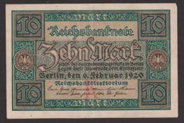 Deutsches Reich, Reichsbanknote 10 Mark Vom 6. Februar 1920 Nr. 7858218 - [ 3] 1918-1933: Weimarrepubliek
