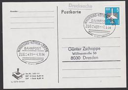 Railway Bahnpost MAGDEBURG - KÖTHEN - LEIPZIG - Zug 2431 7.8.84 Karte - Eisenbahnen