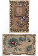 Cartes Fantaises - Matiere Rodoïd - Dorées, Et Peintes   Par 2  - ( Oiseaux, Fleurs  )  Voir Scans - Phantasie