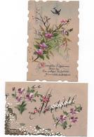 Cartes Fantaises - Matiere Rodoïd -  Et Peintes   Par 2  - ( Marie, Oiseaux, Fleurs  ) ( Lot 3 ) Voir Scans - Phantasie