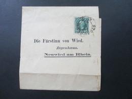 Schweden 1895 Streifband An Die Fürstin Von Wied Im Zeugenhaus. Prinzessin Von Nassau / Königshaus Social Philately - Schweden