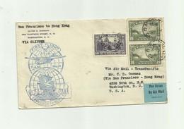CANADA - Lettre 2 Timbres 20 C Et 1 50 C Cachet First Flight San Fransisco Hong Kong - 1937-1952 Règne De George VI