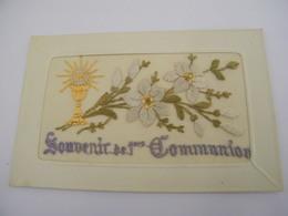 C.P.A.- Carte Brodée - Souvenir De 1ère Communion - 1930 - SUP (CB 52) - Communion
