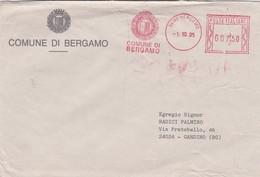 BUSTA VIAGGIATA - BERGAMO -  COMUNE DI BERGAMO - VIAGGIATA PER GANDINO (BG) - Affrancature Meccaniche Rosse (EMA)
