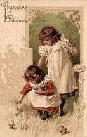 CPA Joyeuses Pâques : Deux Fillettes Cueillant Des Fleurs - Gaufrée - Pâques