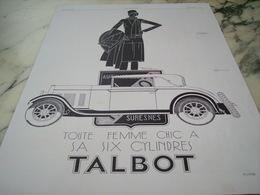 ANCIENNE PUBLICITE VOITURE TALBOT FEMME CHIC  1929 - Afiches