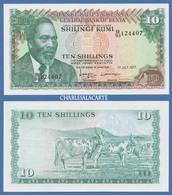 1977  KENYA  10 SHILLINGS KENYATTA CATTLE COWS  KRAUSE 12c  UNC. CONDITION - Kenia