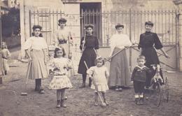 CARTE PHOTO - CPA 41 @ ONZAIN En 1907 - Croquet Pour Les Filles Et Cheval à Roues Pour Le Garçon - JOUET JEU - Frankrijk