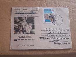 Cuba Aérogramme Circulant En Argentine Avec Image De Corail Et Timbre D'iguane - Aéreo