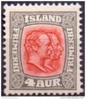 IJSLAND 1907-08 4aur Twee Koningen Roodgrijs WM Kroon PF-MNH - Neufs