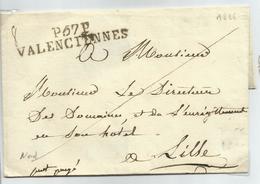P57P VALENCIENNES Griffe De Départ En Port Payé - Marcophilie (Lettres)