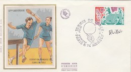 France FDC Sur Soie Yvert 1961 Tennis De Table Signature Signée QUILLIVI Paris Annecy 17/12/1977 - Sports - FDC