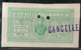 India Fiscal Jaipur State 2Rs. King Court Fee Revenue Type 10 KM 107 Stamp # 686A Inde Indien - Jaipur